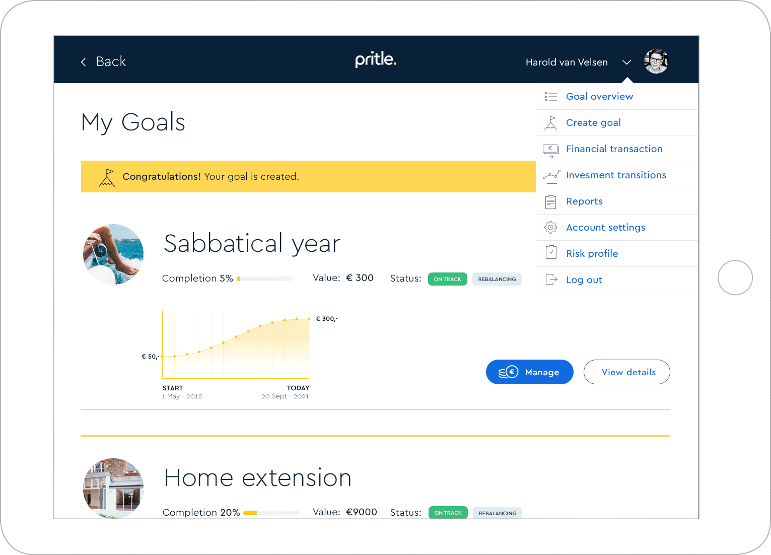 Pritle solution user interface